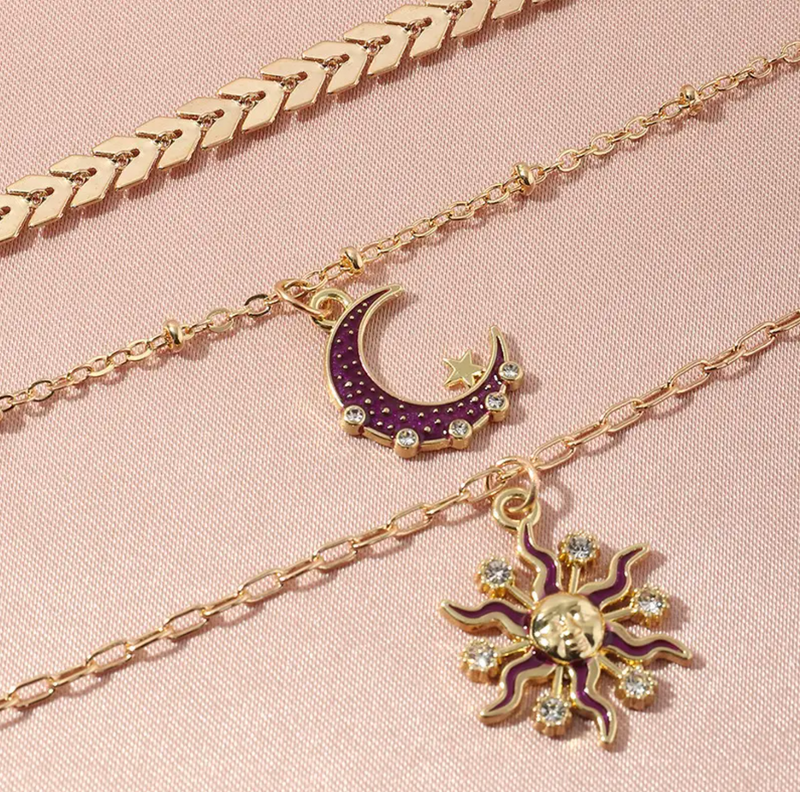 Celeste Star & Moon Triple Chain Necklace