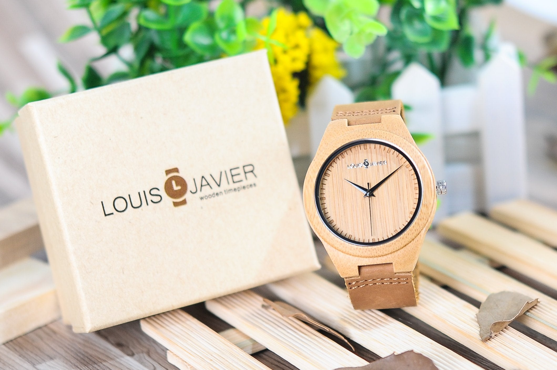 Unique wooden watch. Made from wood, bamboo, metal and natural leather, just the perfect gift.