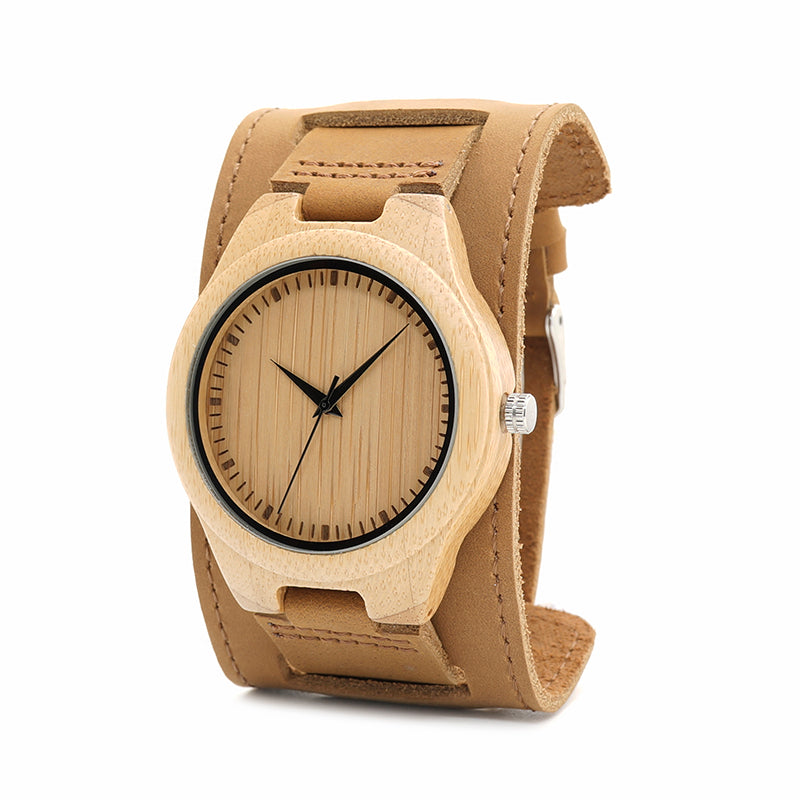 Maple Wood Watches Chicago Leather Bracelet - Louis Javier Wooden Watch. Made from wood, bamboo, metal and natural leather, just the perfect gift.