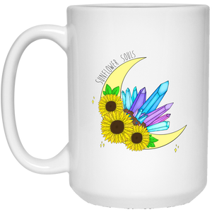 Sunflower Crystal Moon 15 oz. White Mug