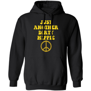 Just Another Dirty Hippie Hoodie black with yellow letters