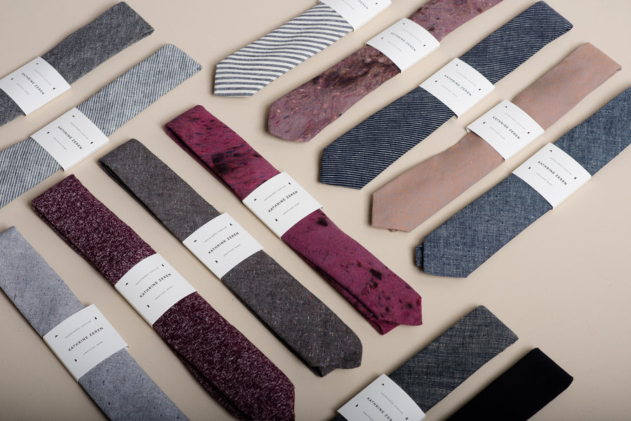 Makers Workshop selection of hemp, organic cotton, and denim handmade ties.