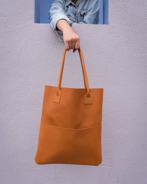 Shilshol Handmade Tan Leather Tote 013 - Makers Workshop