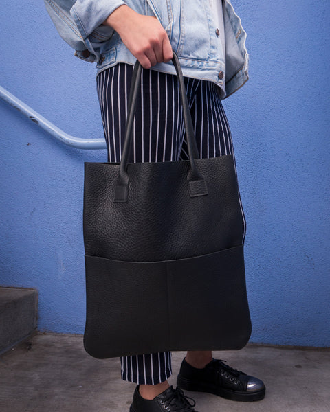 Shilshol Handmade Black Leather Tote 011 - Makers Workshop