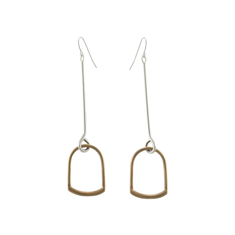 Ellen Mote Rubra Earrings Handmade in Texas Sterling Silver and Bronze