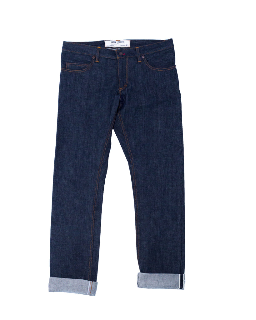 Denim and Spirit's original handmade slim straight cut jean cone mill blue line selvedge denim