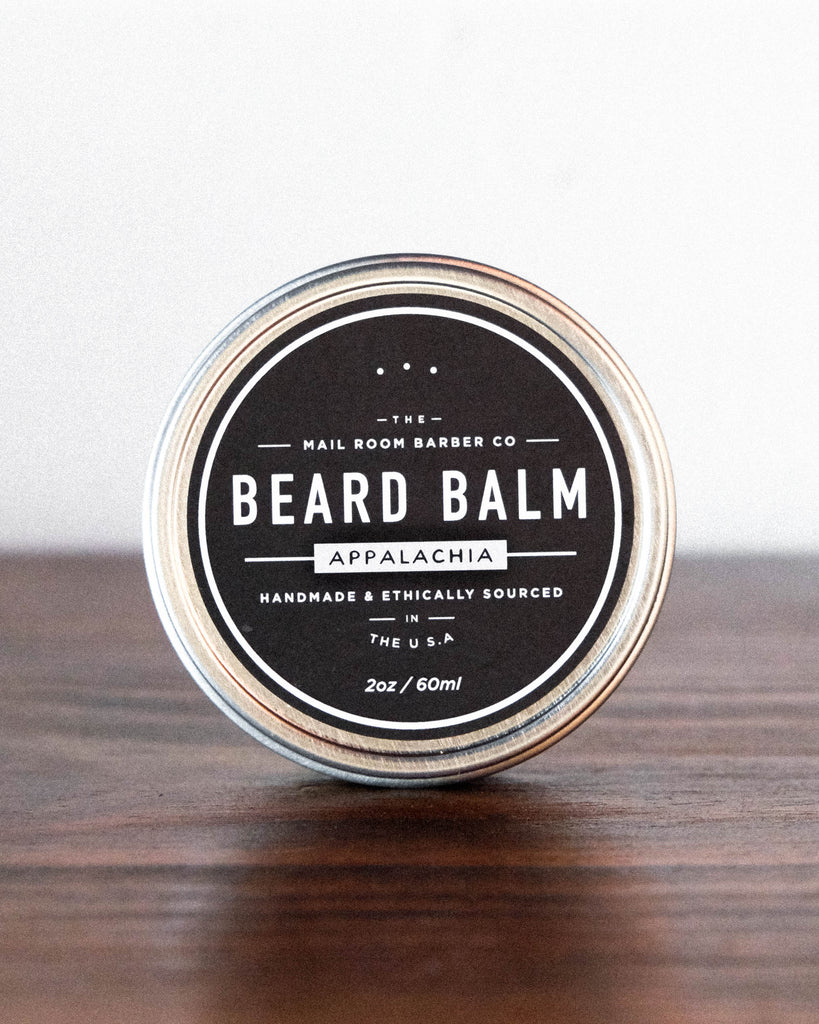 Mailroom Barber Beard Balm Appalachia Nourishing and healing Beard Balm by Florence, SC sustainable brand and makers Mailroom Barber. Grooming products that are made using 100% ethically sourced ingredients and packaging.
