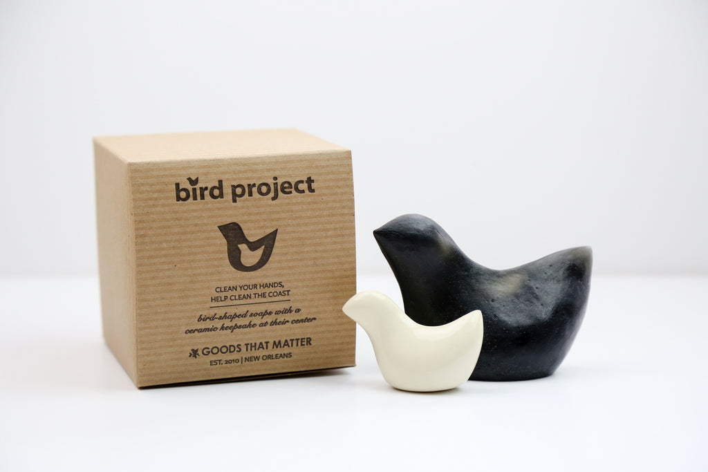These Goods that Matter soaps available on Makers Workshop are made with natural, locally sourced ingredients: biodiesel glycerin, fair trade olive oil, aloe, activated black charcoal, and a light cypress scent. 10% of proceeds are donated to environmental cleanup and care for affected animals of the BP Deepwater Horizon Oil Spill Disaster.