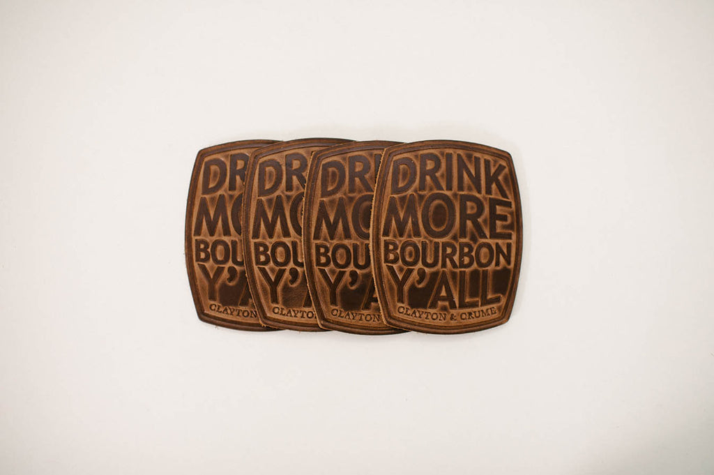 "Full-grain leather ""Drink More Bourbon, Ya'll"" Coasters from makers, Clayton and Crume. Handmade in Kentucky. Set of 4."