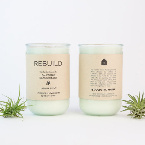 This soothing Goods that matter Jasmine Scent raises funds for Northern California Wildfire Relief, by donating to the California Community Foundation Wildfire Relief Fund- makers workshop