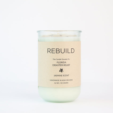 This soothing Jasmine Scent raises funds for Florida Disaster Relief needed from Hurricane Irma. We donate to Volunteer Florida Goods that Matter Makers Workshop