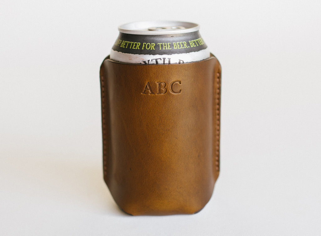 clayton and crume horween leather koozie monogram