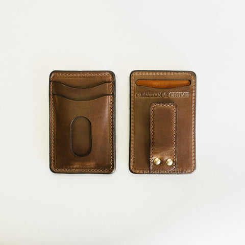 Clayton and Crume Natural Horween Leather Money Clip Makers Workshop