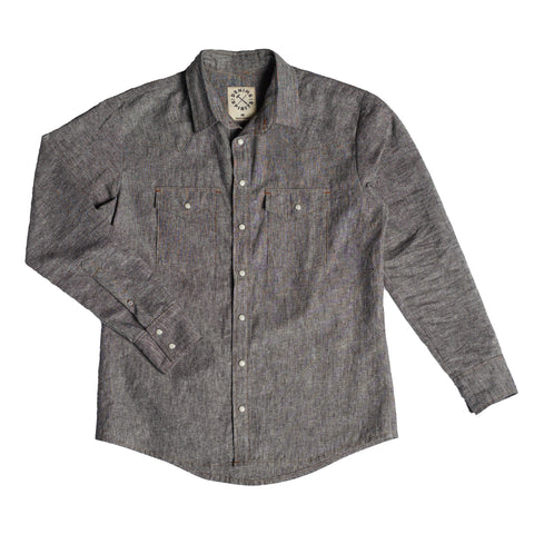 Denim and Spirit's western cut shirt in gray linen blend chambray