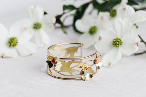 Geoflora Brass Full Spring FloralCuff with Amazonite and Coral