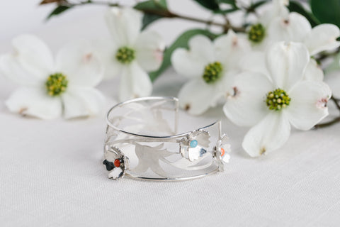 Geoflora Silver Full Spring Cuff with Coral and Amazonite on Makers Workshop