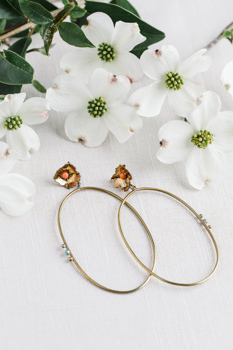 Geoflora Brass Floral Hoop Earrings with coral and  amazonite on Makers Workshop