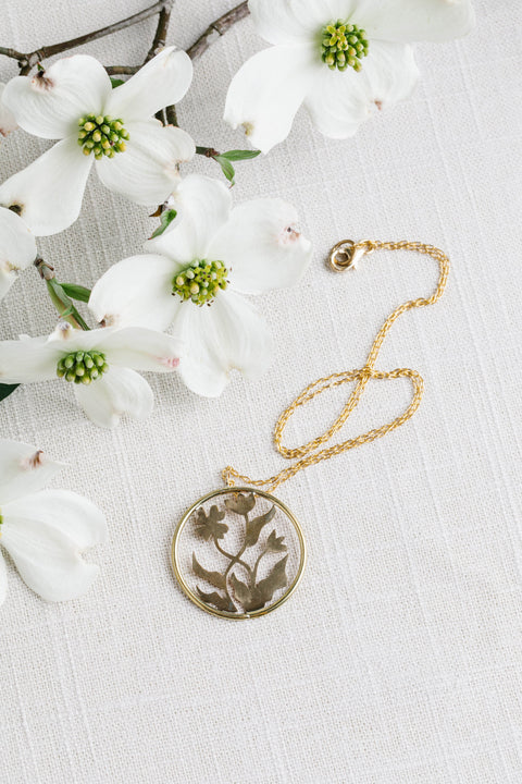 Geoflora Brass Floral Pendant on Makers Workshop