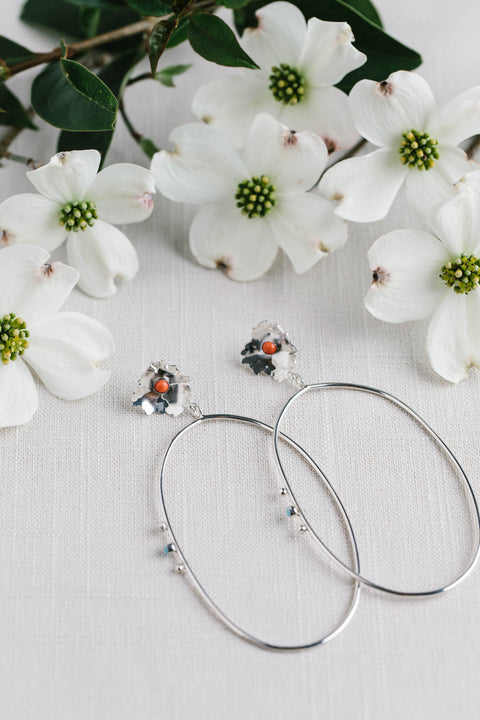 Geoflora Floral Sterling silver Floral Hoop Earrings with coral and amazonite on Makers Workshop