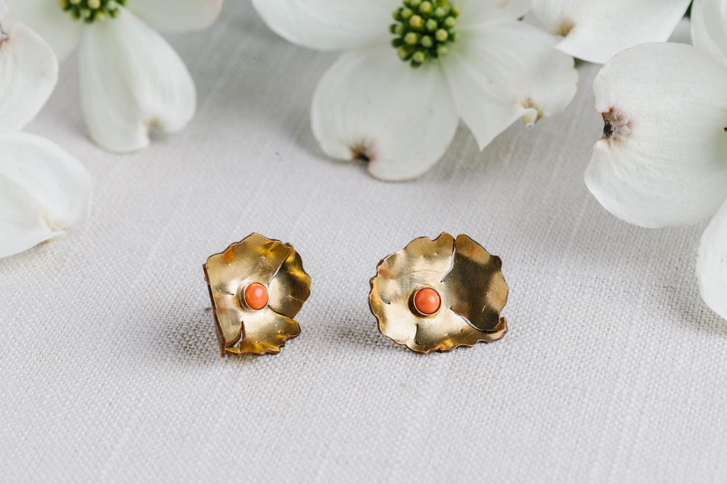 Geoflora Brass and Coral Floral Studs - Makers Workshop