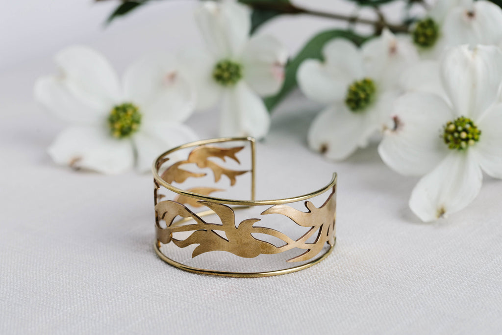 Geoflora Brass Foliage Cuff on Makers Workshop
