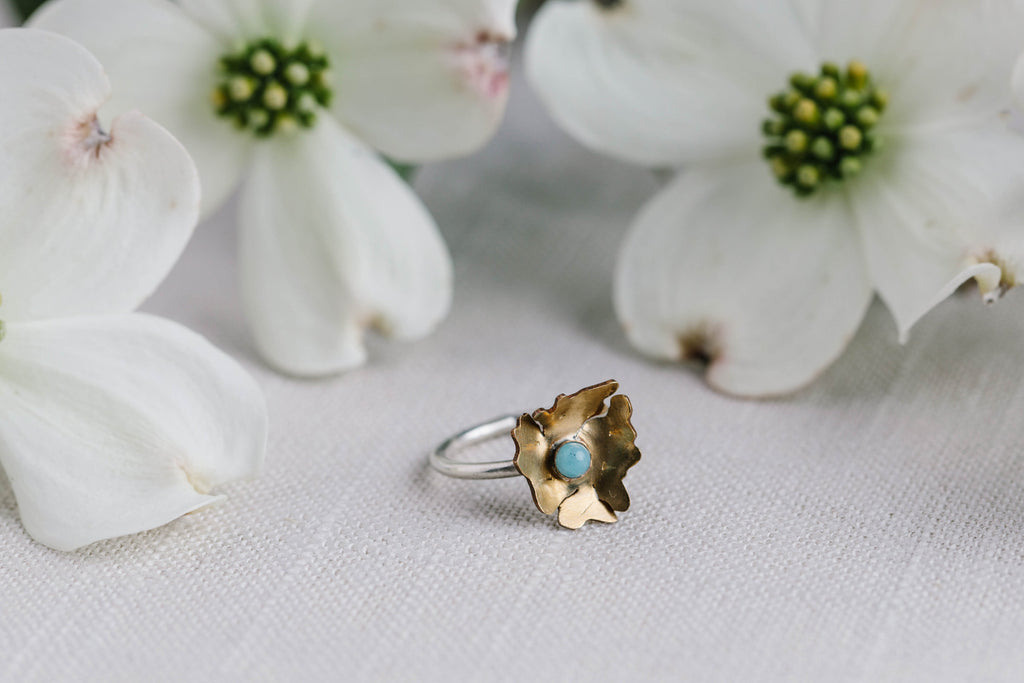 Geoflora Brass Small Amazonite Floral Ring - Makers Workshop
