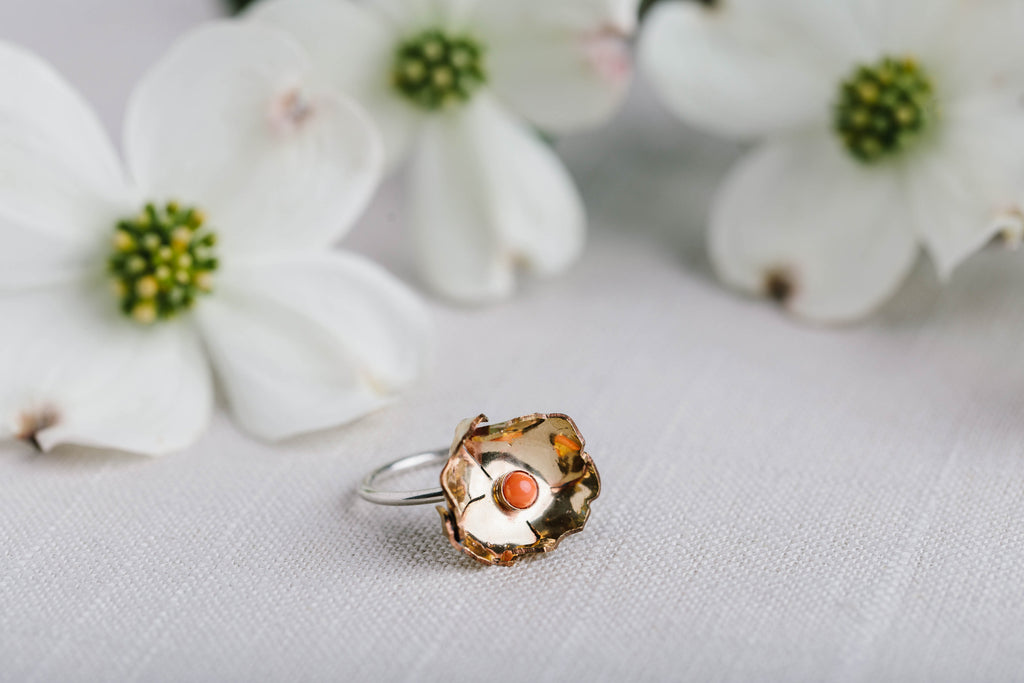 Geoflora Brass and Coral Large Floral Ring - Makers Workshop
