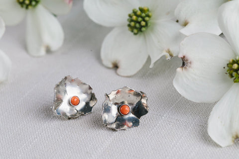 Geoflora Silver Floral Studs - Makers Workshop