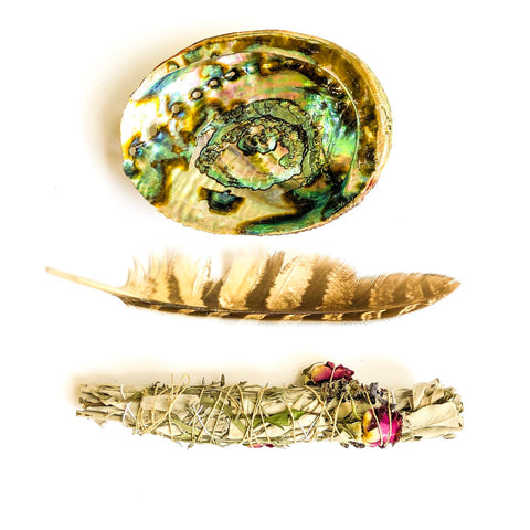 Sage Smudge Kit - Makers Workshop Abalone Shell and Feather