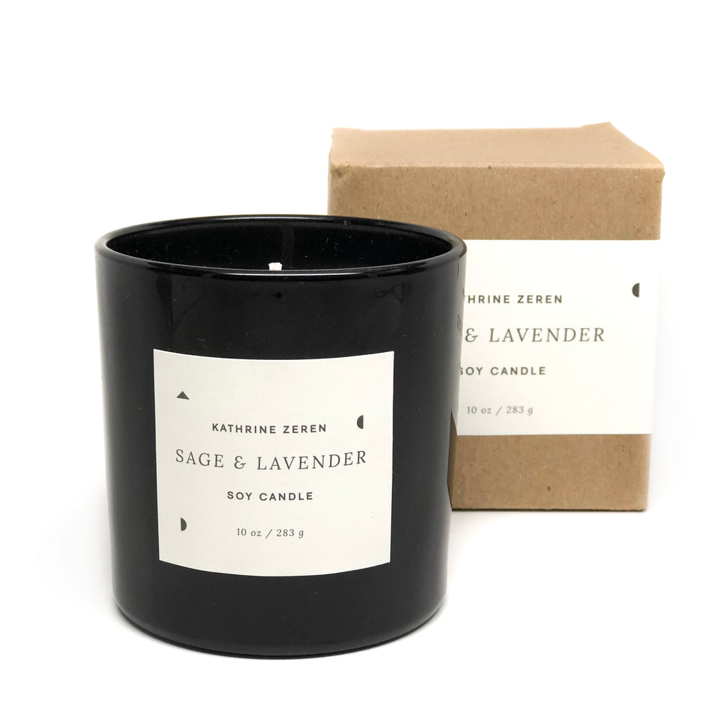Kathrine Zeren Sage and Lavender Essential Oil Soy Candle
