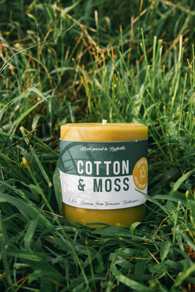 This signature scent is reminiscent of a walk through a mossy stream with a touch of clean cotton and amber for a great summer scent. Made using local beeswax from Johnson's Honey Farm and clean burning with organic hemp wick. Made in Nashville. Great for folks looking for a fresh summer scent.