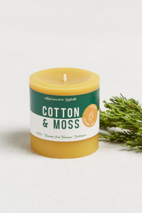 Cotton and Moss scented beeswax candle. Made using local beeswax from Johnson's Honey Farm & clean burning with organic hemp wick. These beauties have a golden ochre color and are hand poured in Nashville