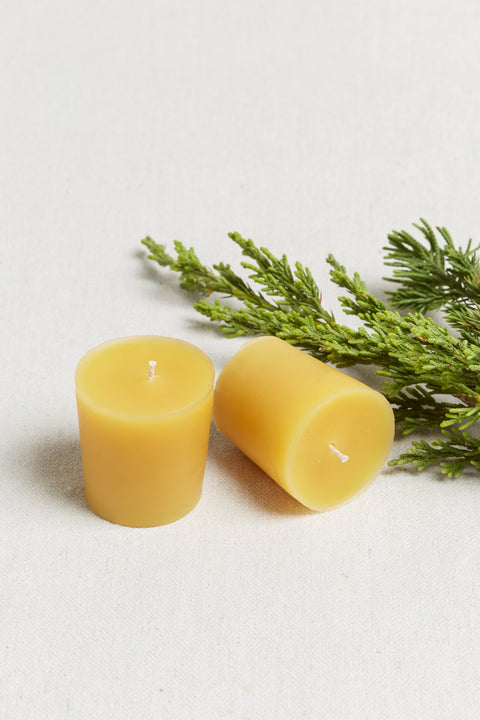 Cotton and Moss holiday Beeswax candle votive duo Frasier fir and Fireside candles