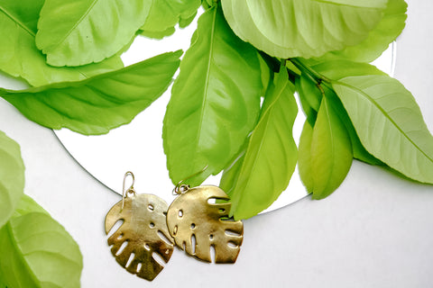 Mimosa Handcrafted tropical monstera earrings lost wax cast handmade