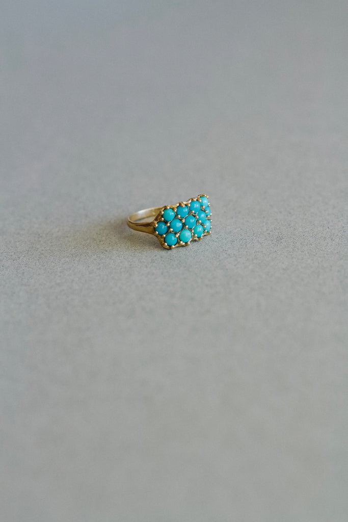 Mimosa Handcrafted quality made lost wax cast 13 stone turquoise ring. The perfect gift for the bold or minimalist in style! Handmade in south Louisiana.