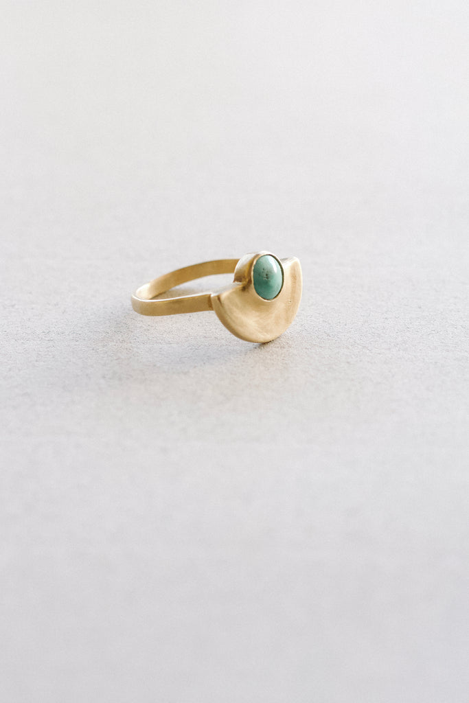 Minimal Semicircle Mimosa Handcrafted Turquoise Ring Makers Workshop
