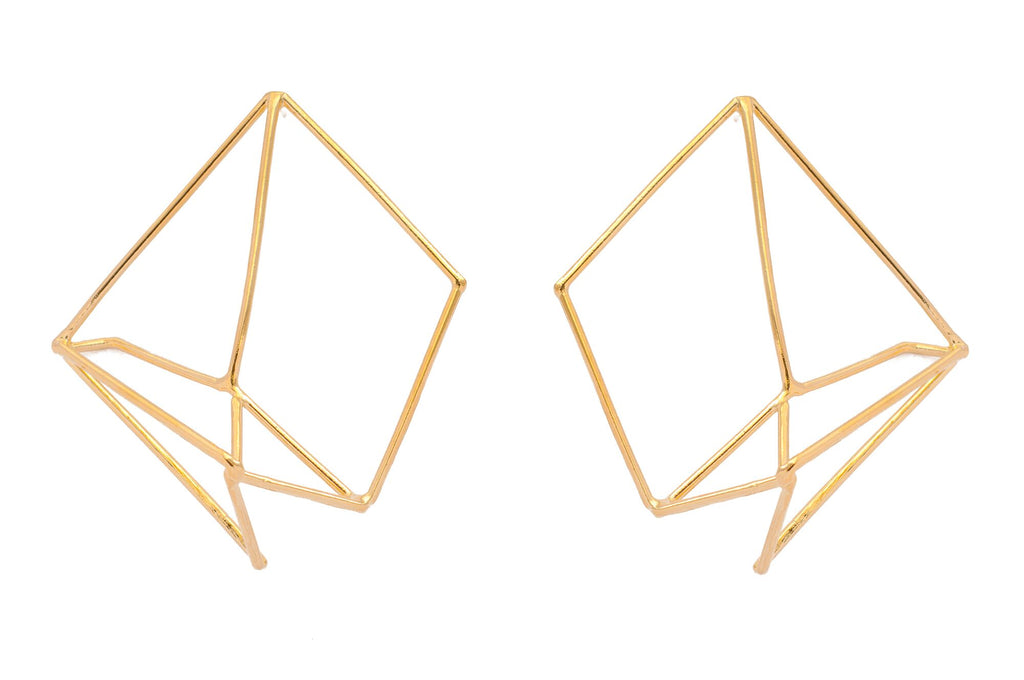 Nina Berenato Yellow Gold Handmade Matrix Earring