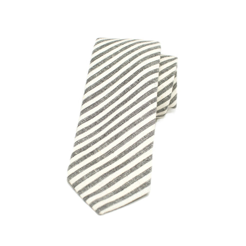 Kathrine Zeren Charcoal and Cream Stripe Handmade Necktie