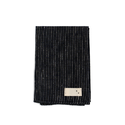 Kathrine Zeren Navy Grounded Stripe Handmade Hemp and Organic Cotton Pocket Square