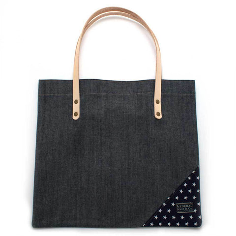Bedford Denim Shopper with Leather and Stars - Makers Workshop