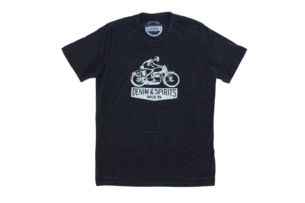 Show your Nashville pride + Get your black 50/50 super soft motorcycle t-shirt that you'll immediately throw into your t-shirt 'rotation'. From makers Denim and Spirits.