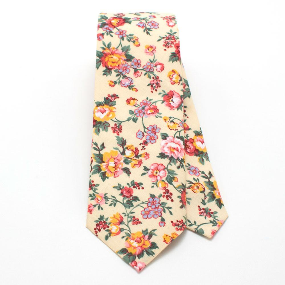 Butter Rose Floral Necktie - Makers Workshop