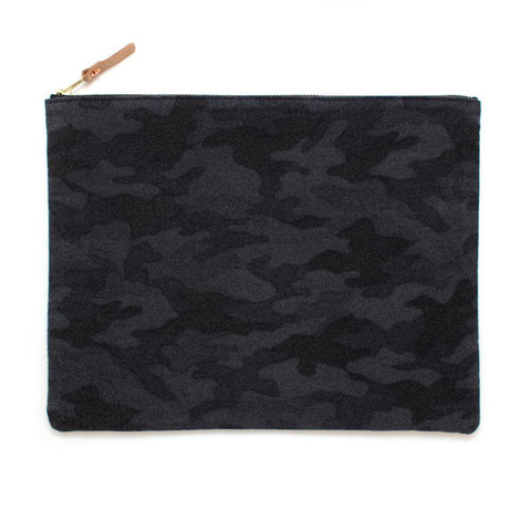 Charcoal Flannel Camo Laptop Sleeve/ Carryall - Large -Makers Workshop
