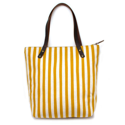 Gold & Flax Awning Stripe Portfolio Tote w/ Leather - Makers Workshop