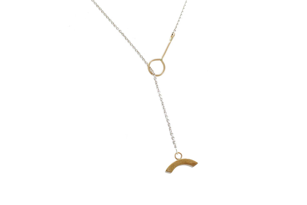 "Ellen Mote Jewelry 28"" lariat style sterling silver necklace with 14k gold fill clasp anchored by a bronze pendant on Makers Workshop"
