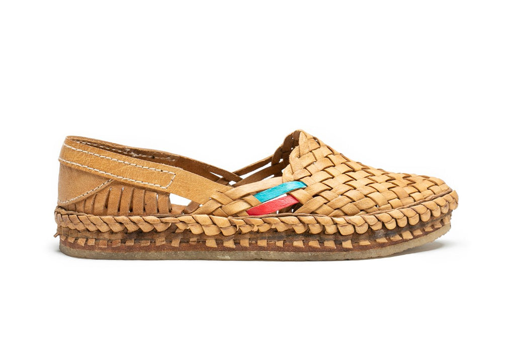Woven Flat / Natural Leather + Stripes