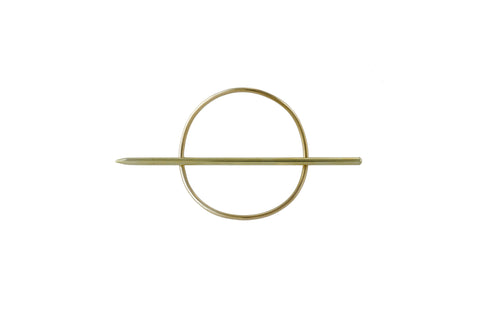 "Ellen Mote circle hair pin, made of solid brass measuring 1.5"" in diameter."