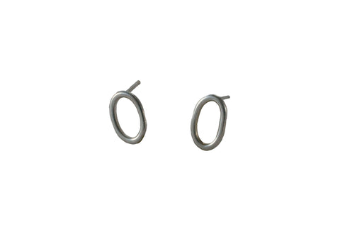 "Ellen Mote Ner Studs Hand-formed sterling silver stud earrings measuring 0.5"" earrings, measuring 0.5""."