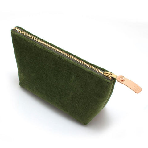 Handmade Olive Velvet Cosmetic Makeup Bag - Makers Workshop