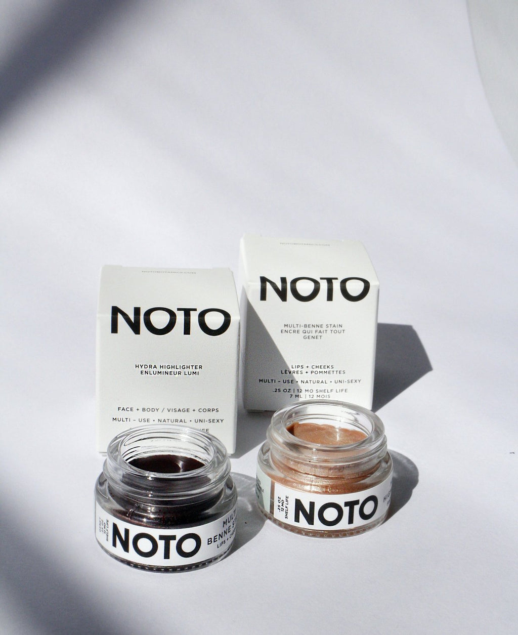 NOTO 2 in 1 Color and Glow set featuring Genet Multi use lip stain + Hydra Highlighter